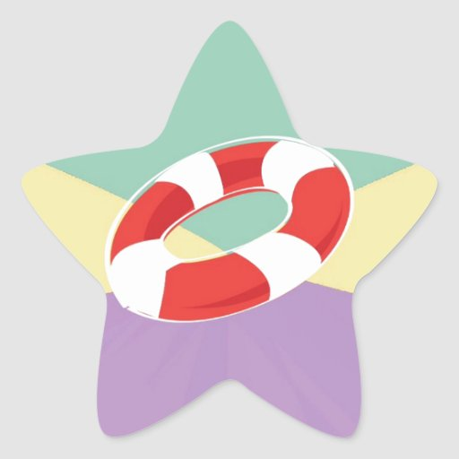 Swimming Buoys On Tri Color Background Star Stickers