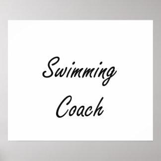 Swimming Coach Artistic Job Design Poster