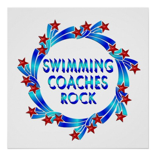 Swimming Coaches Rock Red Stars Poster