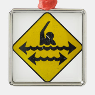 Swimming Danger Sign Christmas Ornament