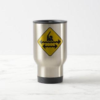 Swimming Danger Sign Mugs