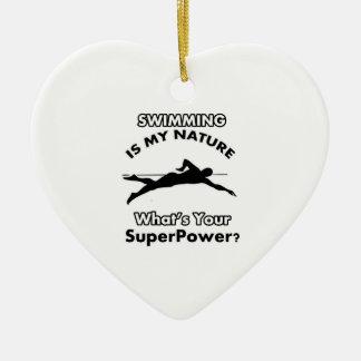 swimming design ceramic heart decoration