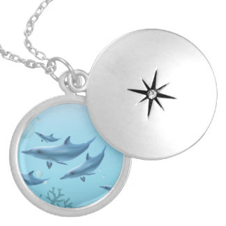 Swimming Dolphin Family Silver Plated Necklace