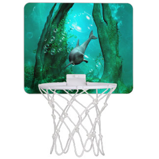 Swimming dolphin in a fantasy world mini basketball hoop
