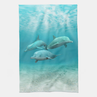 Swimming Dolphins Tea Towel