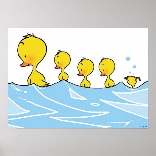 Swimming duck family print