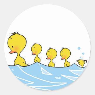 Swimming duck family round sticker