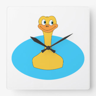 Swimming Duck. Square Wall Clock