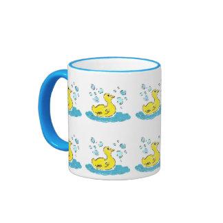 Swimming Ducks n Bubbles Ringer Coffee Mug