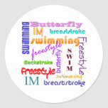 Swimming Everywhere Round Sticker