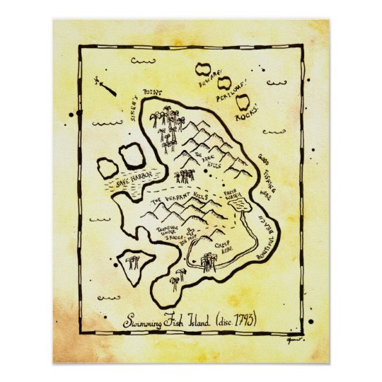 Swimming Fish Island Pirate Treasure Map Poster
