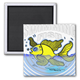 Swimming Fish Square Magnet