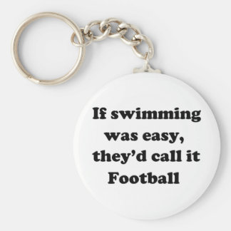 Swimming Football Basic Round Button Key Ring