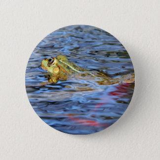 swimming frog 6 cm round badge
