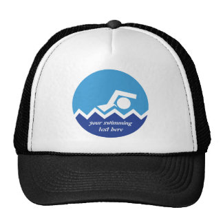 Swimming gifts, swimmer on a blue circle custom cap