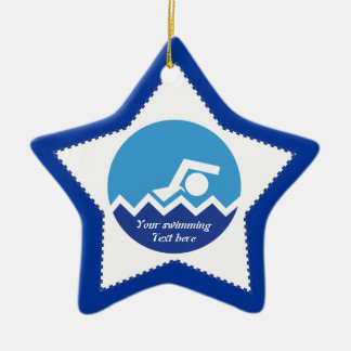 Swimming gifts, swimmer on a blue circle custom christmas ornament