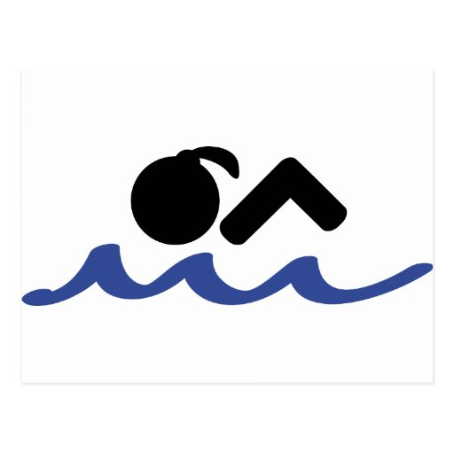 swimming girl postcard