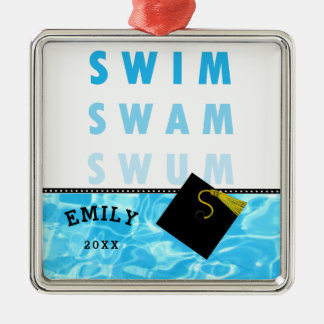Swimming Graduation Silver-Colored Square Decoration