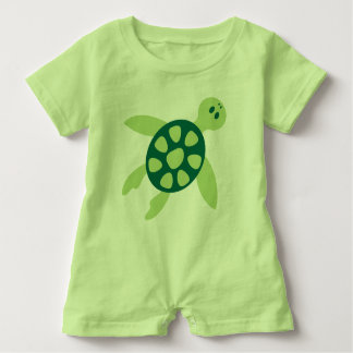 Swimming Green Turtle Art Baby Bodysuit