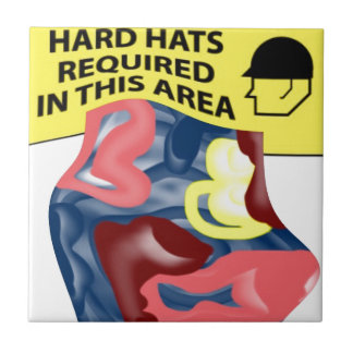 Swimming Hard Hats Small Square Tile