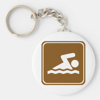 Swimming Highway Sign Basic Round Button Key Ring