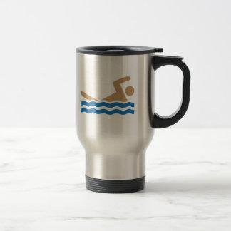 Swimming icon pictograph in color travel mug