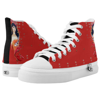 Swimming in Red high tops