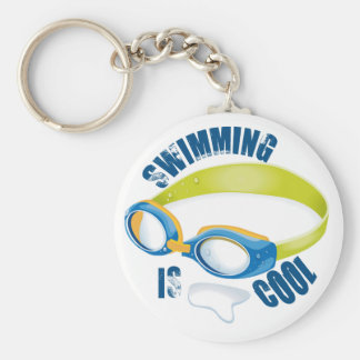 SWIMMING IS COOL BASIC ROUND BUTTON KEY RING