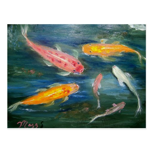 Swimming Koi Fish Art Post Card
