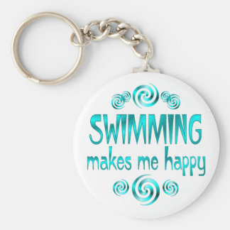 Swimming Makes Me Happy Basic Round Button Key Ring