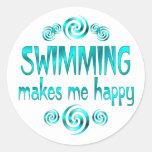 Swimming Makes Me Happy Round Sticker