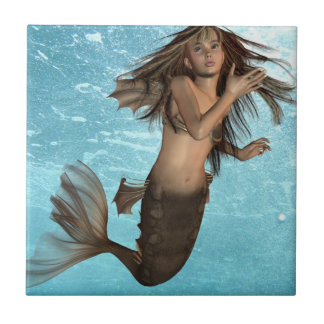 Swimming Mermaid Trivet Small Square Tile