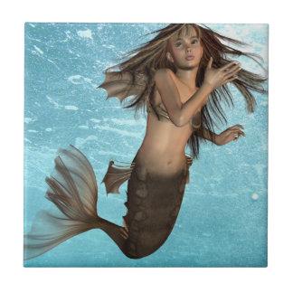 Swimming Mermaid Trivet Small Square Tile