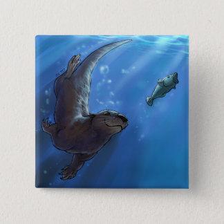 Swimming otter 15 cm square badge