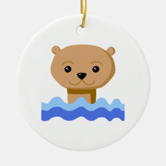 Swimming Otter. Christmas Ornament