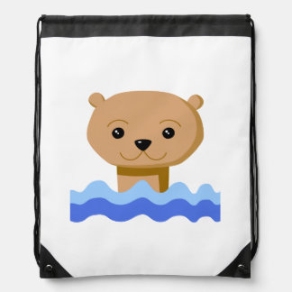 Swimming Otter. Drawstring Bag