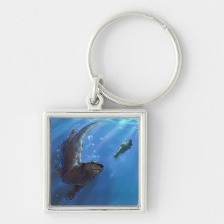 Swimming otter key ring
