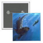 Swimming otter pinback button