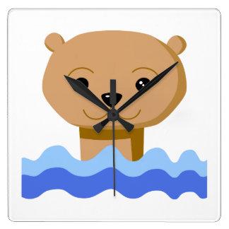 Swimming Otter. Square Wall Clock