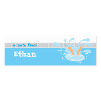 Swimming party loot bag thank you tag pack of skinny business cards