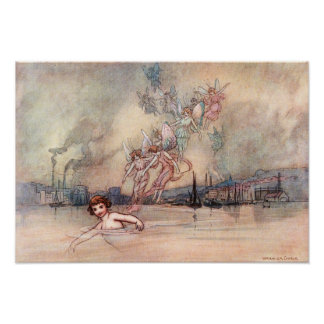 Swimming Past the Town by Warwick Goble Poster