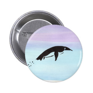 Swimming Penguin 6 Cm Round Badge