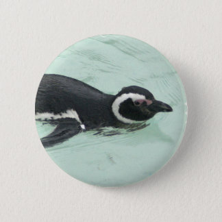 Swimming Penguin Round Pin