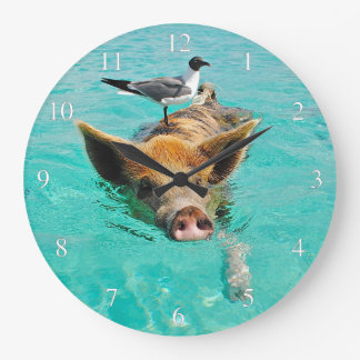 Swimming Pig with a Passenger Large Clock