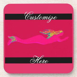 swimming pink mermaid coaster