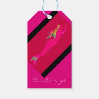 swimming pink mermaid red