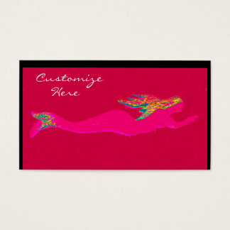 swimming pink mermaid red business card
