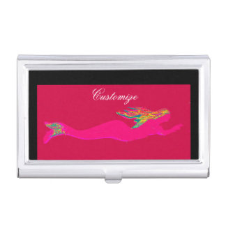 swimming pink mermaid red business card holder