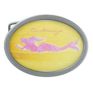 swimming pink mermaid Thunder_Cove Oval Belt Buckles