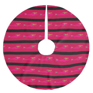 swimming pink mermaids pattern brushed polyester tree skirt